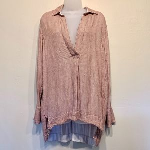 Free People   Pinstriped Long Sleeve Peasant Tunic